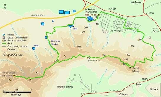 Mapa - Cruz de la Muela y Peña de Orihuela
