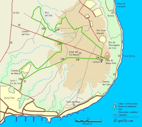 Mapa - Recorrido del PR-CV 61 por la sierra de Santa Pola