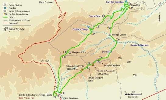 Mapa - Recorrido del PR-CV 52 por la sierra de la Solana desde el refugio Talaieta
