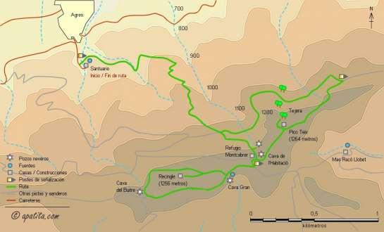 Mapa - Recorrido del sendero botánico de la Tejera de Agres en la sierra de Mariola