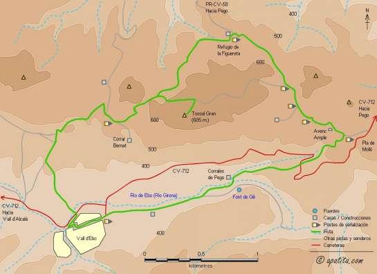 Mapa - Variante del PR-CV 58 entre Vall d'Ebo y el refugio de la Figuereta