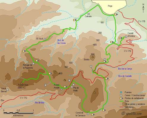 Mapa - Variante del PR-CV 58 entre Pego y el refugio de la Figuereta