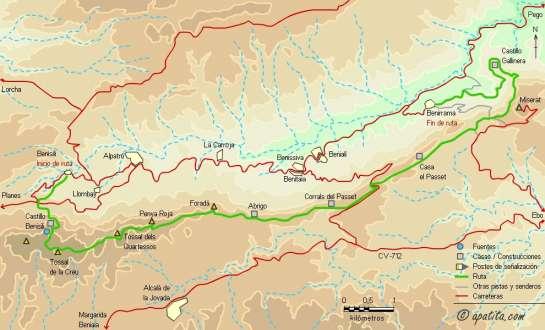 Mapa - Recorrido por la sierra de la Foradà entre el castell d'Alcalà y el castell de Benirrama