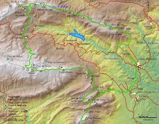 Mapa - Recorrido circular por las cimas que rodean el valle de Guadalest
