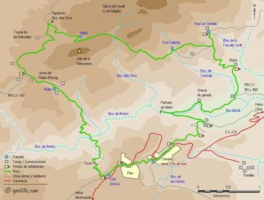Mapa - Recorrido circular por el Barranco dels Oms, la font Centella y la presa de Isbert