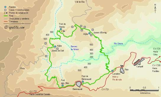 Mapa - Recorrido del PR-CV 147 desde Fleix