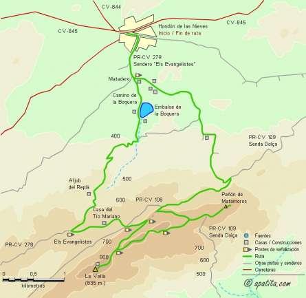 Mapa - Recorrido del PR-CV 279 entre Hondón de las Nieves y la Vella con el añadido del puntal de Matamoros