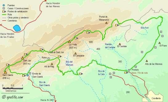 Mapa - Recorrido circular por la sierra de Crevillente enlazando los PR-CV 108, 109, 110 y 278
