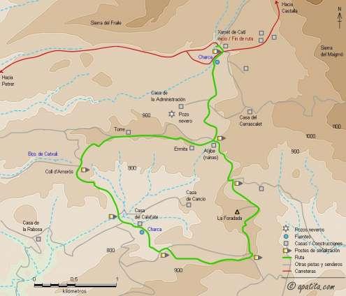 Mapa - Recorrido circular entre Xorret de Catí y la casa del Calafate