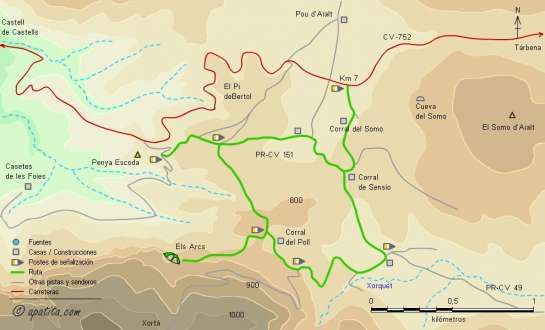 Mapa - Recorrido circular en el entorno de Els Arcs de la Xortà