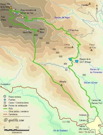 Mapa - Subida a la Xortà desde Callosa d'En Sarrià