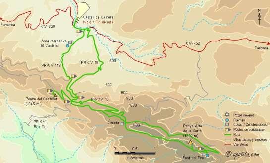 Mapa - Subida a la Xortà y a la penya del Castellet desde Castell de Castells