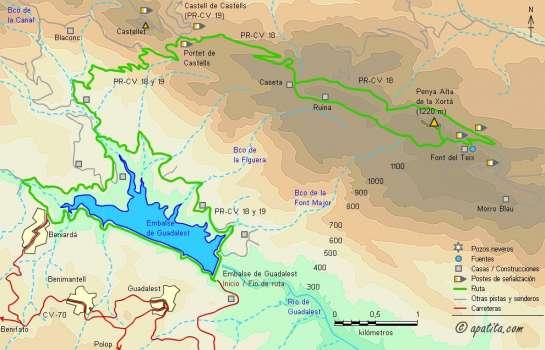 Mapa - Subida a la Xortà desde el embalse de Guadalest por el PR-CV 18 y recorrido alrededor del embalse