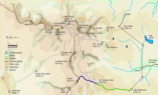 Mapa - Ascensión al Cástor desde el refugio Quintino Sella