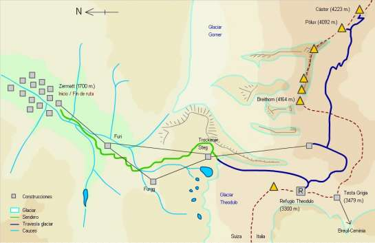 Mapa - Ascensión al Cástor y Pólux desde Zermatt