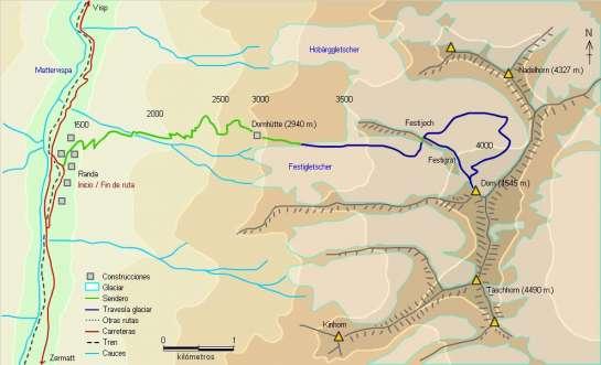 Mapa - Ascensión al Dom desde Randa