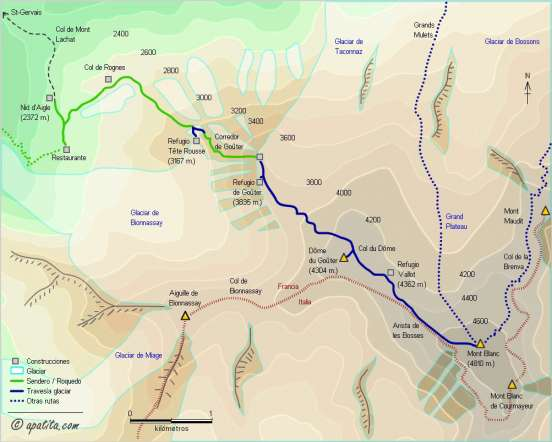Mapa - Ascensión al Mont Blanc por Goûter