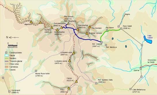 Mapa - Ascensión al Monte Rosa desde el refugio Gnifetti