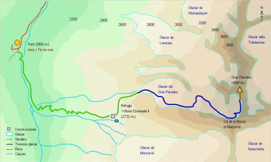 Mapa - Ascensión al Gran Paradiso desde el refugio Vittorio Emanuele II