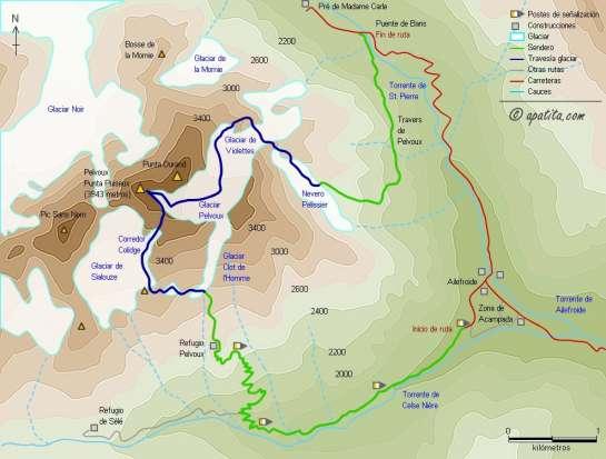 Mapa - Ascensión por el corredor Coolidge y descenso en travesía por el glaciar de Violettes
