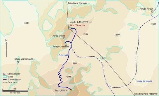 Mapa - Ascensión al Tacul desde el refugio de Cosmiques