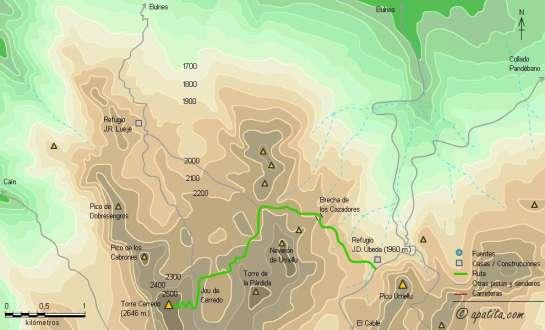 Mapa - Subida a Torrecerredo desde collado Pandébano por el refugio de Urriellu