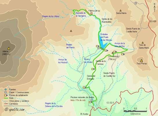 Mapa - Subida a la cascada de la Cervigona desde las piscinas naturales de Acebo