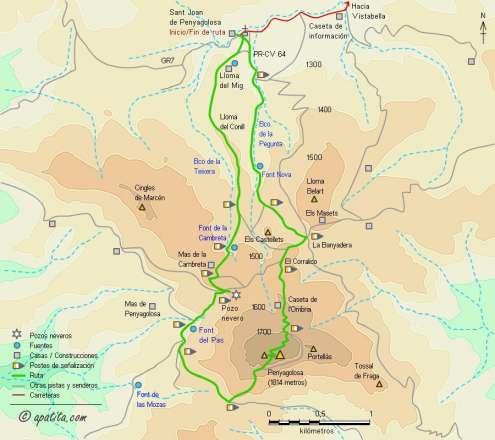 Mapa - Subida al Penyagolosa por la canal desde la ermita de Sant Joan