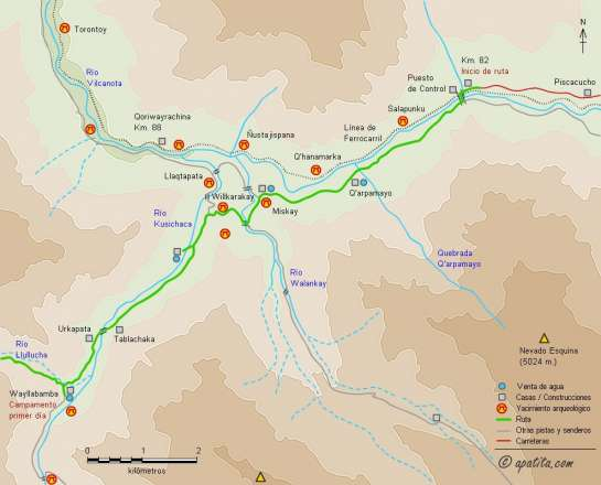 Mapa - Camino Inca desde el km. 82 de la línea férrea de Cusco a Machu Picchu