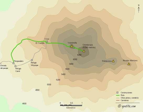 Mapa - Ascensión al Chimborazo con vivac en el Castillo