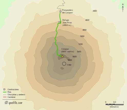 Mapa - Ascensión al Cotopaxi desde el parqueadero y el refugio José Rivas