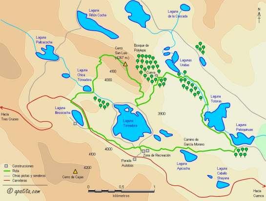 Mapa - Recorrido circular combinando las rutas 1 y 2