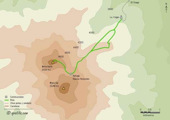 Mapa - Subida al Illiniza Norte por la cresta este