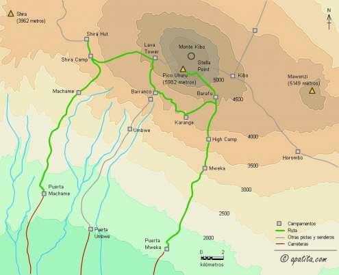Mapa - Ascensión al Kilimanjaro por la ruta Machame