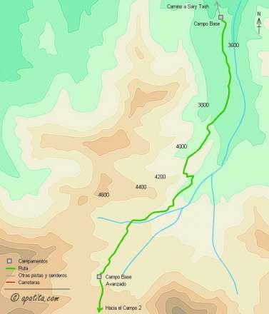 Mapa - Ascensión al Pico Lenin por la arista NW