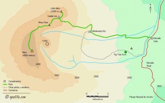 Mapa - Subida al Monte Meru como aclimatación previa al Kilimanjaro