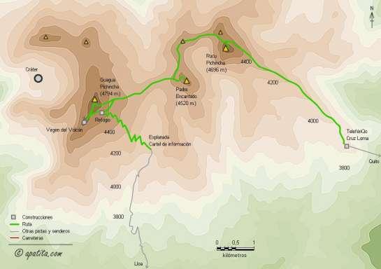 Mapa - Travesía entre el Guagua Pichincha y Cruz Loma