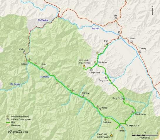 Mapa - Trekking por el valle del Markha y ascensión al Stok Kangri (Ladakh, India)