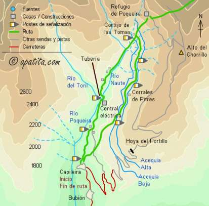 Mapa - Ascensión a la Alcazaba desde Capileira por el refugio de Poqueira