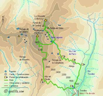 Mapa - Ruta a la Alcazaba y Mulhacén desde Trevélez vivaqueando en Siete Lagunas