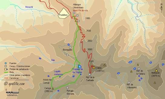 Mapa - Ascensión al Pico del Cartujo por la arista norte desde los albergues