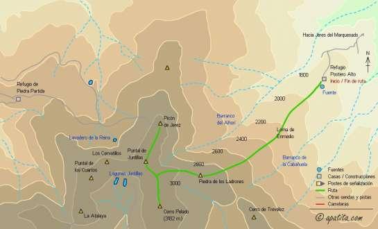 Mapa - Subida a Cerro Pelado desde el refugio de Postero Alto