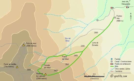 Mapa - Corredor Central del Alhorí desde Postero Alto