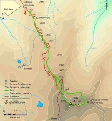 Mapa - Corredor de los Machos y arista del Campanario al Veleta