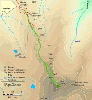Mapa - Subida al Veleta por el popular canuto desde la Hoya de la Mora