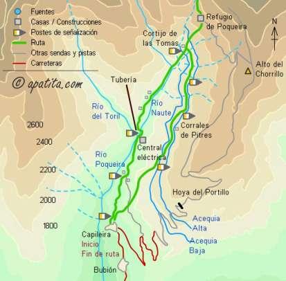 Mapa - Ascensión al Mulhacén desde Capileira por el refugio de Poqueira