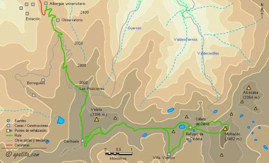 Mapa - Ascensión por el corredor central y salida por la Lorente-Monleón