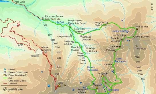 Mapa - Ruta circular por el Mulhacén y la Alcazaba desde Güejar-Sierra