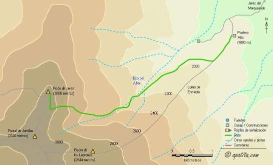 Mapa - Subida al Picón de Jerez por el barranco del Alhorí