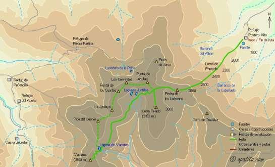 Mapa - Subida a Vacares desde el refugio de Postero Alto por Cerro Pelado